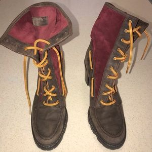 HUNTER Leather/Suede Lace Up Boots Size 7/38
